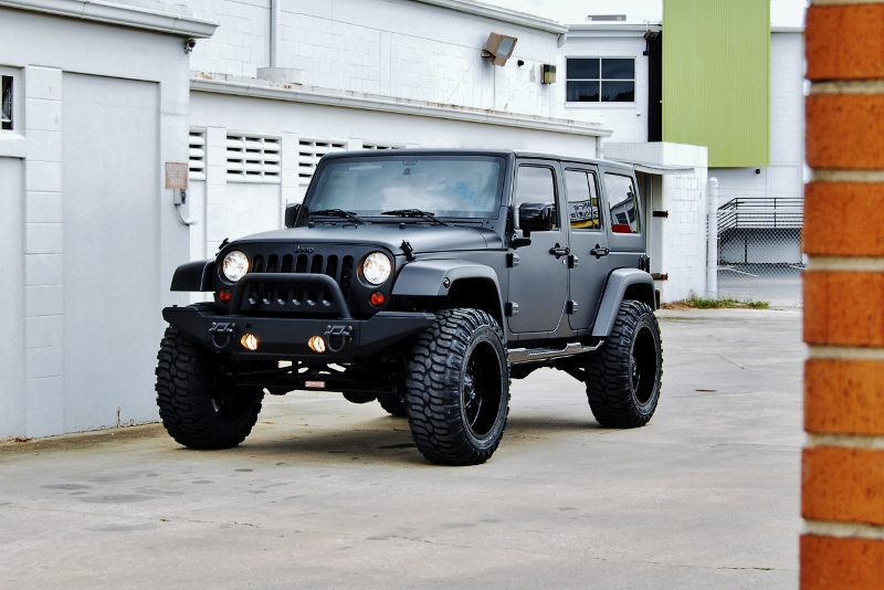 Custom Matte Black Jeep Wrangler Derick G  got 4 x 4