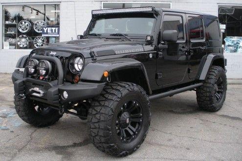 Custom Black 2013 Jeep Wrangler Unlimited Rubicon Cars  got 4 x 4