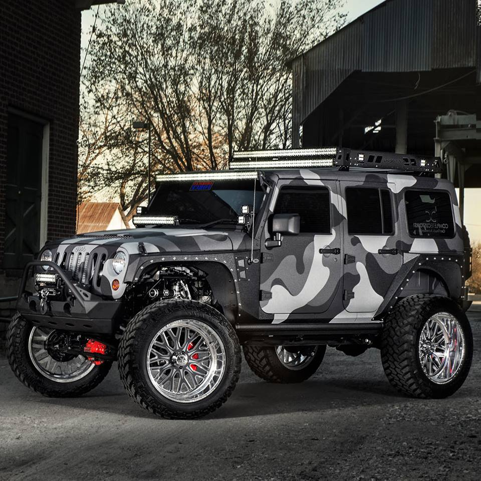 Custom Camouflaged Lifted Jeep – Off Road Wheels