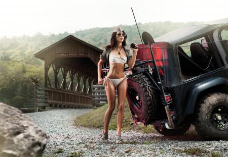 Hot girl and Jeep Cars got jeep