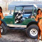 Hot girl and Jeep Cars