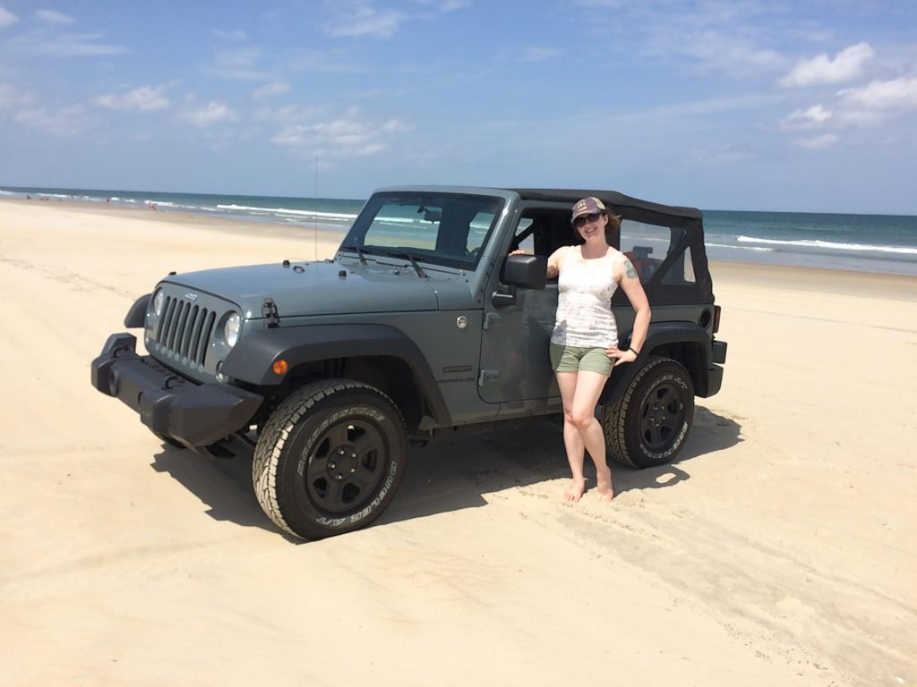 My girl and my jeep on the beach  Jeep