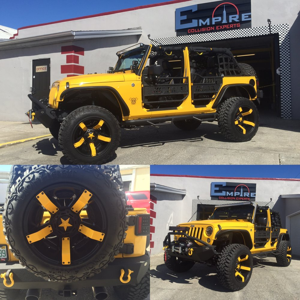 Yellow Custom Jeep Wrangler  Empire Collision Experts