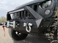 Custom bumper with winch plate allows installation of most …