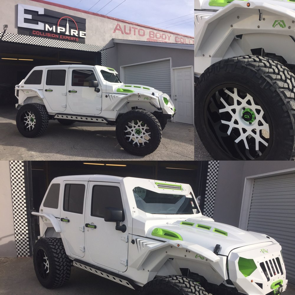 White Custom Jeep Wrangler 3  Empire Collision Experts