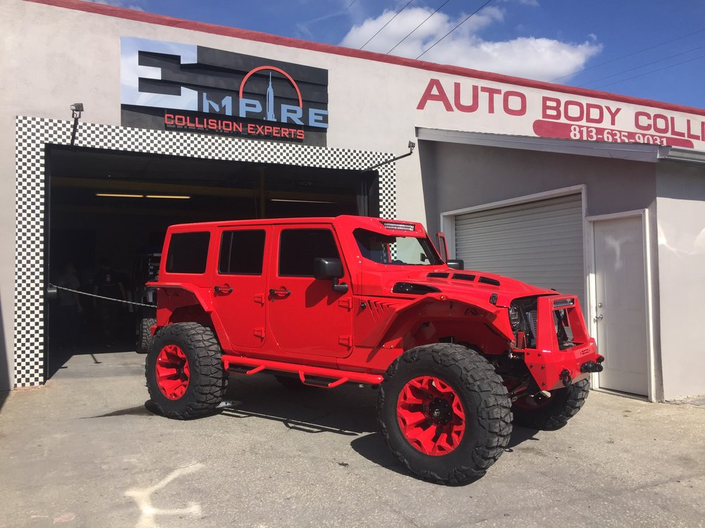 Red Custom Jeep Wrangler  Empire Collision Experts
